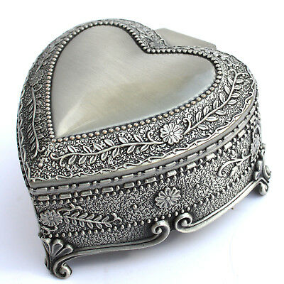 Tin Alloy Heart Shape Wind up Music Box : The Girl Who Fell From The Sky