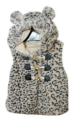 Baby Girls Faux Fur Hooded Ears Toggle Fronted Lined Gilet Bodywarmer Age 18-24