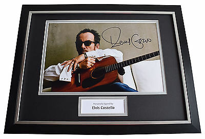 Elvis Costello SIGNED FRAMED Photo Autograph 16x12 display Music AFTAL COA