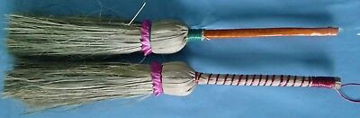 Pair Of Hand Held Indian Primitive Twisted Tree Branch Wooden Handle Whisk Broom