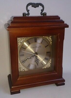 "Vintage Wooden Repro BRACKET STYLE MANTEL  CLOCK Battery Operated 9"" TALL Handle"