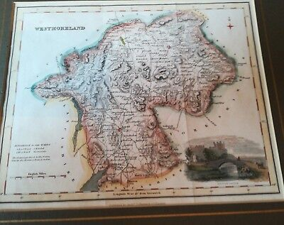 Antique hand coloured map of Westmorland Lake District by Fullarton 1843