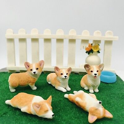 Pembroke Welsh Sculpture Dog Statue Hand-Made Figurine Toy Painted Corgi 5-Pack