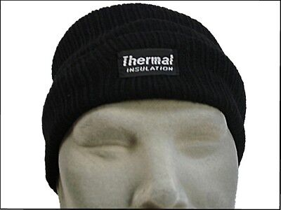 HAT Fleece Lined Knitted Rally Beanie Insulated Ski Thermal Insulation Blk US