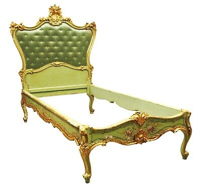 Antique Venetian Gilt & Hand Painted Decorated Bed Frame Shabby Chic (58682)