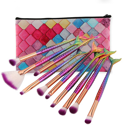 10pcs Mermaid Beauty Makeup Brushes Set Cosmetic Eye Shadow Lip Make Up Cosmetic