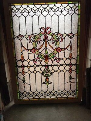 Sg 2068 Totally Restored Antique Stained Glass Jeweled Landing Window 41 X 59.25