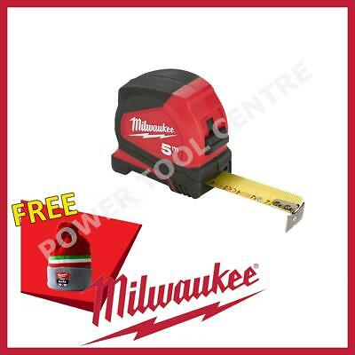 Milwaukee 4932459593 Pro Compact  Metric Tape Measure 5m Jobsite Durable C5/25