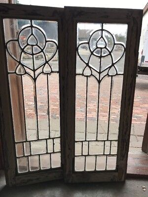 Sg 2072 Match Pair Antique All Beveled Glass Sidelight Windows 15.25 X 38.5