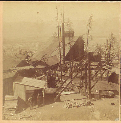 Silver Mines Miners Mining Leadville Colorado Antique Photo Stereoview
