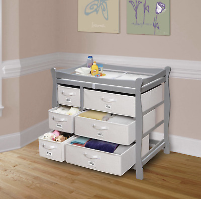 Baby Diaper Changing Table Dresser Boy Nursery Furniture Girls with Drawers Bins