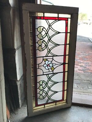 Sg 2079 Antique Stainglass Flower Center Transom Window 19 X 40