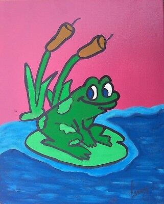 Original Frog Lily Pad Pond Baby Nursery Wall Decor Children's Room Art