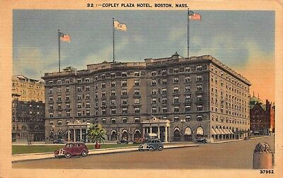 Vtg 1949 POSTCARD COPLEY PLAZA HOTEL FAIRMONT BOSTON MASSACHUSETTS Cars Antique