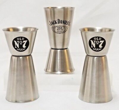 3 -Jack Daniel's Double Jiggers 'Old No 7' Single Double Shot Measuring Cocktail