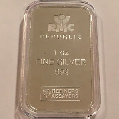 1oz RMC REPUBLIC METALS  .999 FINE SILVER BAR - New Sealed  #3649