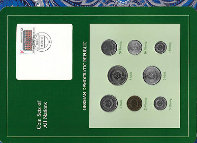 Coin sets of all nations East Germany w/card 1979-1987 UNC 5 Mark 1981 1 Mark 87