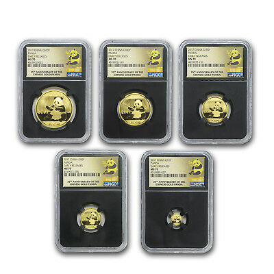 2017 China 5-Coin Gold Panda Set MS-70 NGC (Early Releases) - SKU#166422