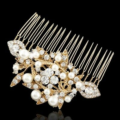 Vintage Women GOLD Bridal Pearl Hair Comb Wedding Accessories elegant Headpiece
