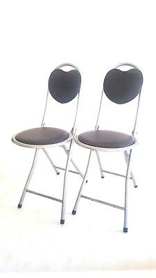 DLUX 2-PK Strong Folding Chairs W/ Heart Shaped Back Support, Silver/ Dark Gray