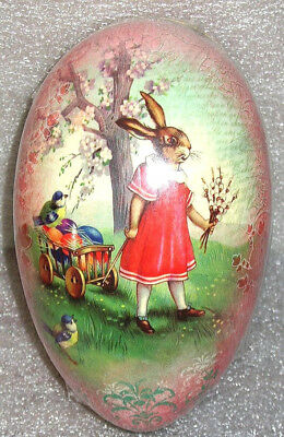 "Vintage Easter Egg (3""x2.5"") GIRL BUNNY Sealed MINT Paper Mache Made in GERMANY"