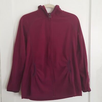 Motherhood Maternity Fleece Hooded Zip Up Jacket Size Large Purpley-Red Color