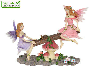 1 x Fairy Garden Fairies Playing on Seesaw Statue Collectable New