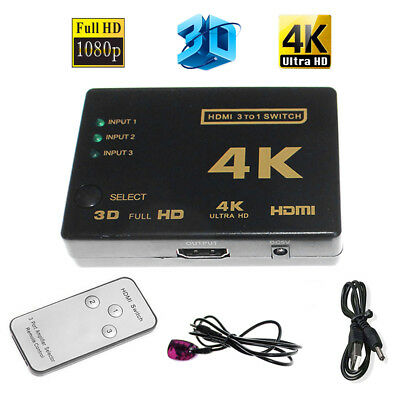 Ultra HD 3Port 3x1 HDMI Switcher 4Kx2K 1080P 3D Switch Selector With IR Remote