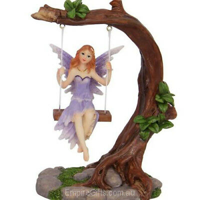 1 x Fairy on Tree Swing Statue for Fairy Garden Collectable PURPLE