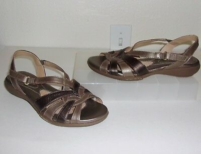 cce83a71f86a Naturalizer N5 Comfort Gold   Bronze Metallic Leather Sandals Size 6.5 1 2  Shoes
