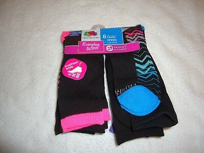 6 Pair Fruit Of The Loom Girls Everyday Active Crew Socks  Size L Shoe Size 4-10