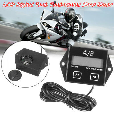 Motorcycle LCD Digital Tach Tachometer Hour Meter Gauge Engine Spark Inductive