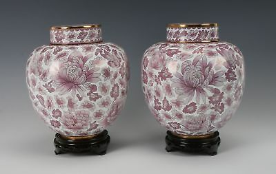 """Gorgeous Large Pair of Chinese Cloisonné Ginger Jars Pink and White 10.5 """""""