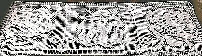 Vintage Hand Crocheted Lace Tablecloth. 66 X 18  Inch. White  color.  New