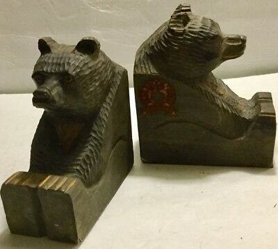 Vintage Pair of Hand Carved Wood GRIZZLY BEAR Bookends by Bear Brook Design Inc