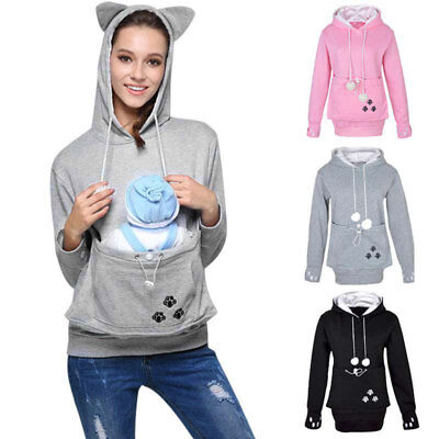 Women Dog Cat Hoodies Sweatshirt With Cuddle Pouch Casual Kangaroo Pullover Tops