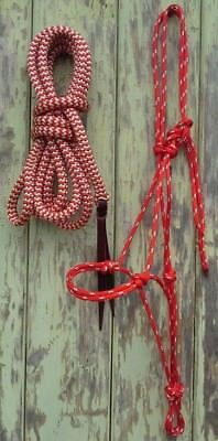 Red Rope Halter & 12ft Lead Rope with Loop in Red/Beige Zig Zag
