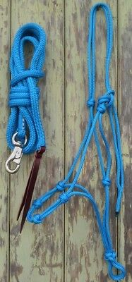 4 Knot Rope Halter & 12ft Lead Rope with Bull Snap in Blue - Natural Equipment