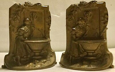 Pair of Antique Solid Bronze Art Deco Era Girl at the Lion Fountain Bookends