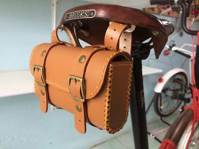 Leather bicycle saddle bag HANDMADE for Brompton ,Brooks,Vintage (Honey Color)