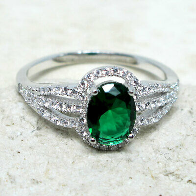 Gorgeous 1.5 Ct Oval Emerald Green 925 Sterling Silver Ring Size 5-10