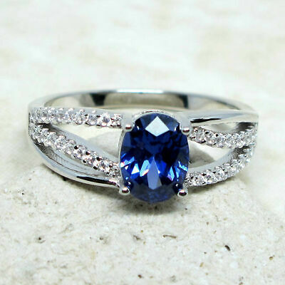 FASHIONABLE 1.5 CT OVAL CUT TANZANITE 925 STERLING SILVER RING SIZE 5-10