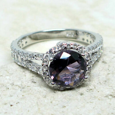 ATTRACTIVE 2 CT ROUND LAVENDER PURPLE 925 STERLING SILVER RING SIZE 5-10