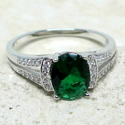 Gorgeous 2 Ct Oval Emerald Green 925 Sterling Silver Ring Size 5-10