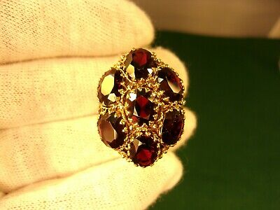"Outstanding Massive Vintage Ladies 10K Yellow Gold & Garnet ""dome"" Princess Ring"