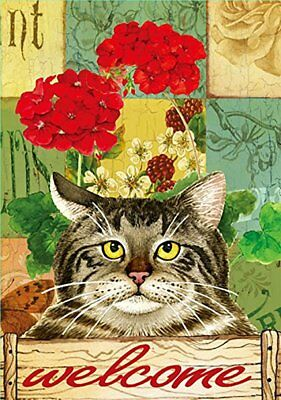 """Morigins - Cat cute kitty welcome home Double-Sided Garden Flag 12"""" x 18"""""""