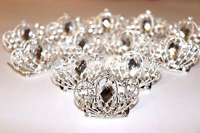 12 pc Wholesale Silver Rhinestone Mini Crown Hair Comb Tiara Wedding Bridal Prom