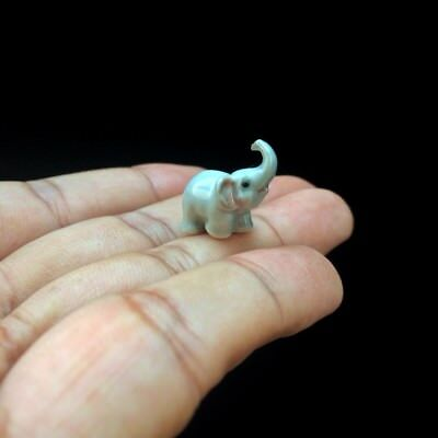 New Tiny Elephant Dollhouse Miniature Ceramic Mini Figurine Hand Painted Cute