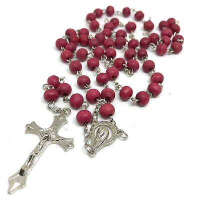 Catholic prayer Rosary -  wood prayer beads rosary  - Rosary Crucifix Necklace