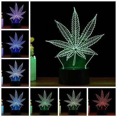 Leaf 3D LED Illusion Lamp 7 Colors Optical Visual Party Bedroom Night Light ~